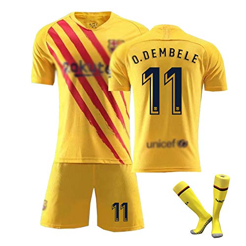# 10 Messi #11 O.DEMBELE # Griezmann Fußball Trikot Trainings uniform Set Kinder Herren Club Kurzarm Sportswear (Kurzarm + Shorts) Yellow(#11)-XXL
