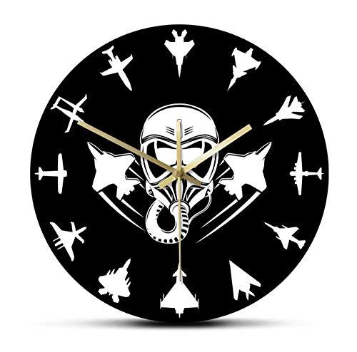 Aviones A Reacción Militares Reloj De Pared Moderno Jet Fighter Reloj De Pared Silencioso Aviación Arte De Pared Aviones Aéreos Aviador Decoración Del Hogar Regalo De Piloto-Sin Marco