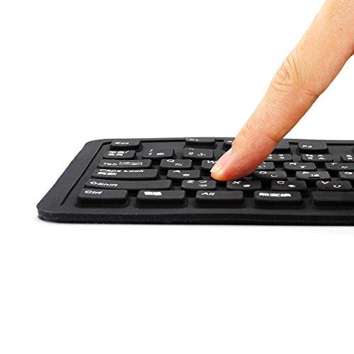 サンワダイレクト洗えるシリコンキーボード防水静音ケーブル巻き取りWindows専用ブラック400-SKB013BK