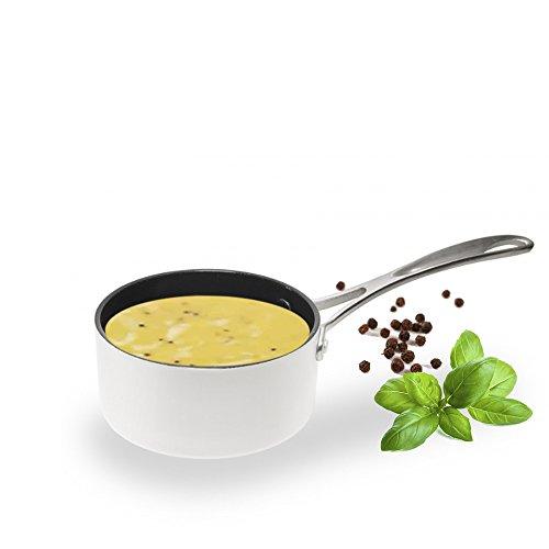 Aubecq A710012 Evergreen - Casserole à Sauce - Blanche avec revêtement céramique, Aluminium, Blanc, 12 cm