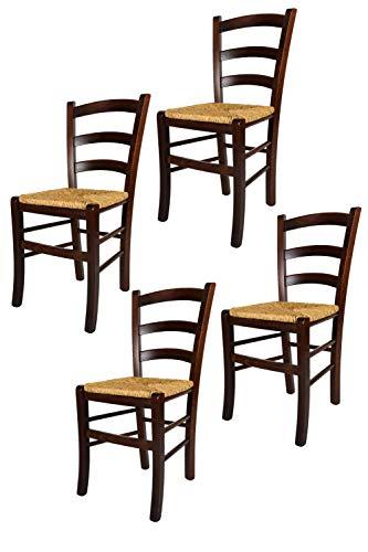 Tommychairs - 4er Set Stühle Venezia für Küche und Esszimmer, Robuste Struktur aus lackiertem Buchenholz im Farbton Dunkles Nussbraun und Sitzfläche aus Stroh