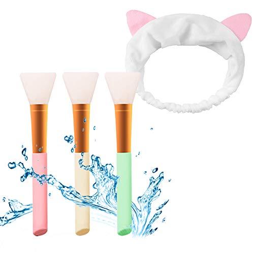 Ealicere 3 Stück Silikon Maskenpinsel mit 1 Haarbänd Gesichtsmask Pinsel Gesicht Set Make-up Beauty Werkzeug für DIY, Hautpflege