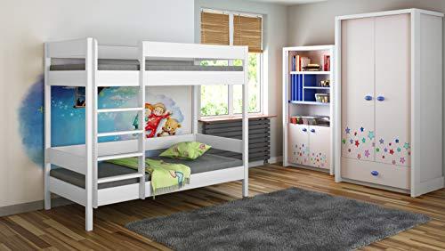 Children's Beds Home Literas - Niños Niños Juniors Individuales con 2 colchones de Espuma Pero sin cajones (180x80, Blanco)