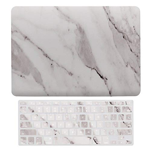 Laptop Screen Case for MacBook Air 13 & New Pro 13 Touch, Cracked Marble Keyboard Cover Screen Protector Shell Set