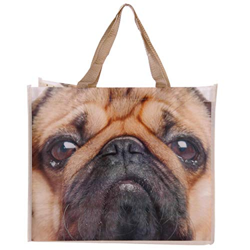 Puckator Pug Shopper Bag by Pukator 40 x 33cm Pugs & Kisses Range, Mixed, Height 33cm Width 40cm Depth 17cm
