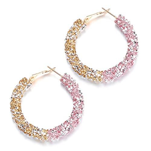 liuliu Pendientes de aro con Forma de círculo Grande con Diamantes de imitación Brillantes, Pendiente de Mujer, Colgante de Cristal Redondo geométrico, Accesorios de joyería