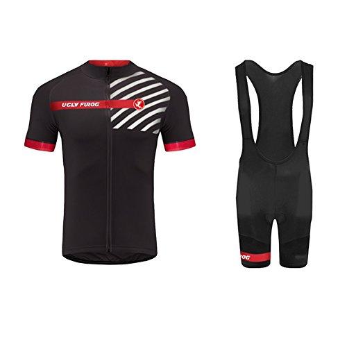 Uglyfrog 2019 Maillot Cyclisme Homme Combinaison Cycliste Tenue Cycliste Homme Ete+Cuissard à Bretelle avec 3D Gel Rembourré Shorts Respirant Séchage Rapide FRTZR01