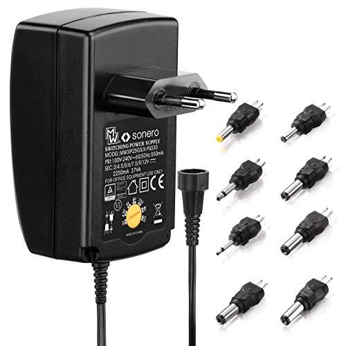 sonero PS030 Universal Stecker Netzteil (3V-12V Drehschalter) mit 8 Adaptern, schwarz
