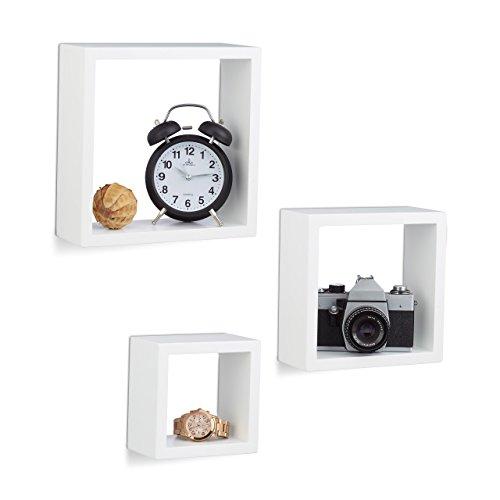 Relaxdays Hängeregal Würfel 3er Set, Wandboard Cube, Schweberegal quadratisch, MDF, klein, verschiedene Größen, weiß