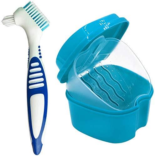 Plastica Dentale Caso - Cura Protesi Dentarie Porta Apparecchio Denti Protesi di Tazza con Filtro per Protesi, Dentiere da Bagno,Contenitore per Protesi Dentarie Bagno Deture Fermo per Pulizia (Blu)