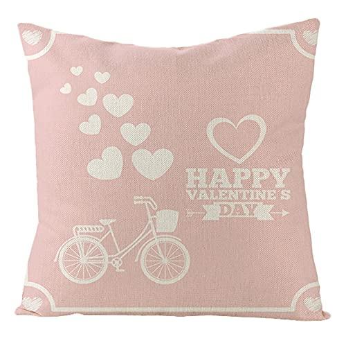 Daesar Cojines Cama,Fundas Cojines Sin Relleno,Happy Valentine's Day Corazón y Bicicleta Funda Cojin 45x45 Rosa Blanco