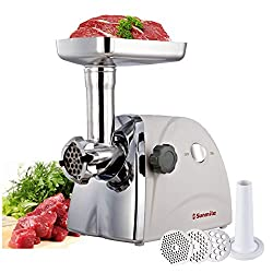 Sunmile SM-G31 ETL Electric Meat Grinder Mincer 1HP 800W Stainless Steel Cutting Blade, 3 Stainless Steel Cutting Plates,3 Types Sausage Stuff Makers
