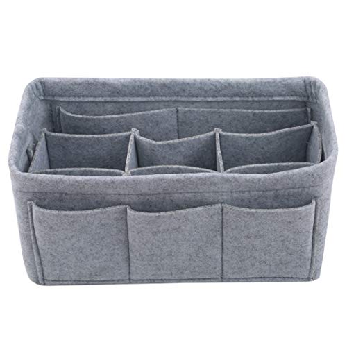 SJHFG Multiple Pocket Felt Makeup Bag Cosmetics Tool Storage Box Container Toiletry Organizer Purse Pouch Basket (Light Grey 2)