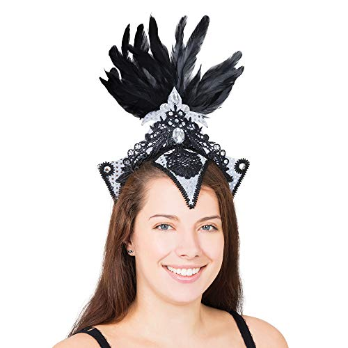 Bristol Novelty - Tocado en plata y negro para disfraz cabaret burlesque (Tamao nico) (Plata/Negro)