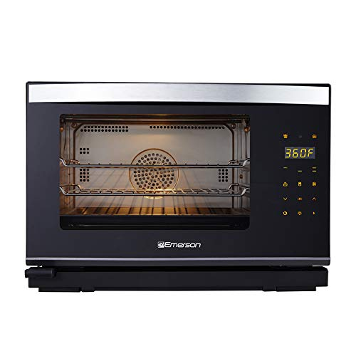 Emerson Radio ER101005 0.9 cu. ft. Steam Grill Oven With Convection, Sensor Touch Panel And Inner Light, Black and Stainless Steel