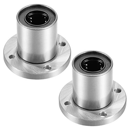 uxcell LM16UU Round Flange Linear Ball Bearings, 16mm Bore Dia, 28mm OD, 37mm Length(Pack of 2)
