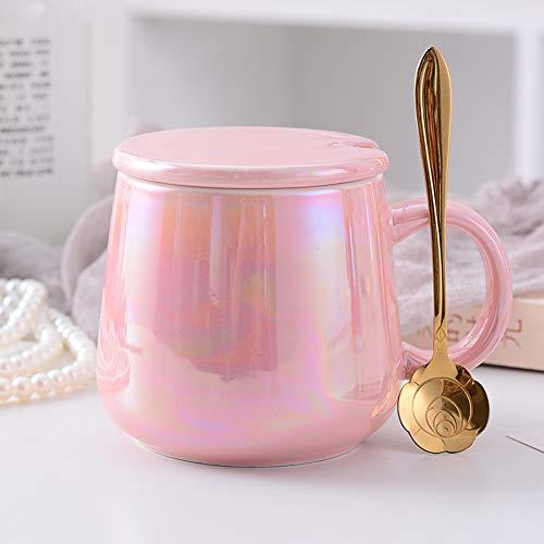 CLX Kaffeetasse Schale Set Becher Startseite Wasser Tasse Tee Tasse Perlmutt Coffee-to-Go Bambus-Becher,Rosa