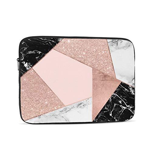Funda protectora para ordenador portátil de 13 pulgadas, diseño geométrico de mármol blanco y negro, compatible con MacBook Air de 13,3 pulgadas, color oro rosa