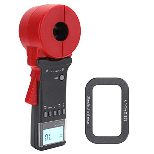 Multímetro de pinza, medidor de pinza de 0.01-1200Ω y amperímetro de 0mA-20A, probador de resistencia de tierra digital de 4 bits con 99 unidades de almacenamiento de datos, alarma audible y ajuste de