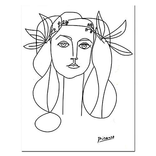 Picasso Line Art Zeichnung Leinwand Kunstdrucke Skizzen Frau Blumenstrauß des Friedens Malerei Poster Minimalistische Wandkunst Wohnwanddekoration Ohne Rahmen 40x50cm 03