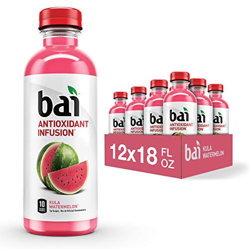Bai Flavored Water Kula Watermelon Antioxidant Infused Drinks 18 Fluid Ounce Bottles 12 Count