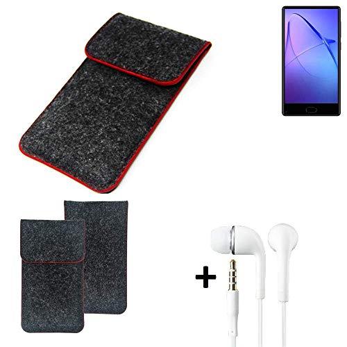 K-S-Trade Handy Schutz Hülle Für Leagoo KIICA Mix Schutzhülle Handyhülle Filztasche Pouch Tasche Hülle Sleeve Filzhülle Dunkelgrau Roter Rand + Kopfhörer
