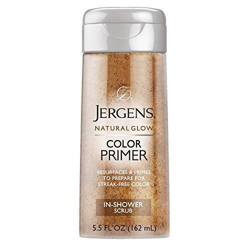 Jergens Natural Glow Color Primer Exfoliating In-Shower Body Scrub, 5.5 Ounces