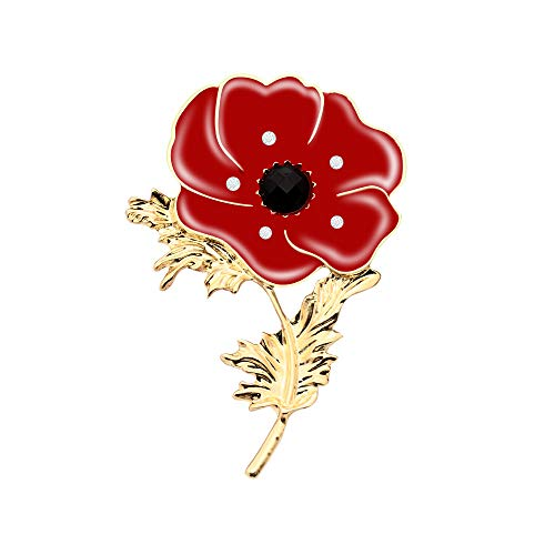 Awyuan Large Red Poppy Flower Brooch Pin Diamante Crystal Rhinestone Gold Plated from UK