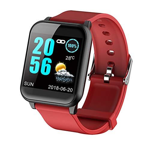 GAOword Farbbildschirm Smartwatch Herzfrequenz Blutdruck Schlafüberwachung Multifunktionales Sport Wasserdichtes Armband,Rot