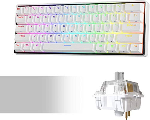 KEMOVE Snowfox 60{4342117b9befe6a1ac6cdf9d80945bbcd8c8f81de78a52bf7178d1a7c32c112c} Mechanische Gaming-Tastatur Bluetooth 5.1 Kabellos/Verkabelte 61 Tasten Computer-Tastatur RGB Hot-Swap-fähige PBT-Tastenkappen 3000mAh Batterie, QWERTY Layout (Silber Schalter)