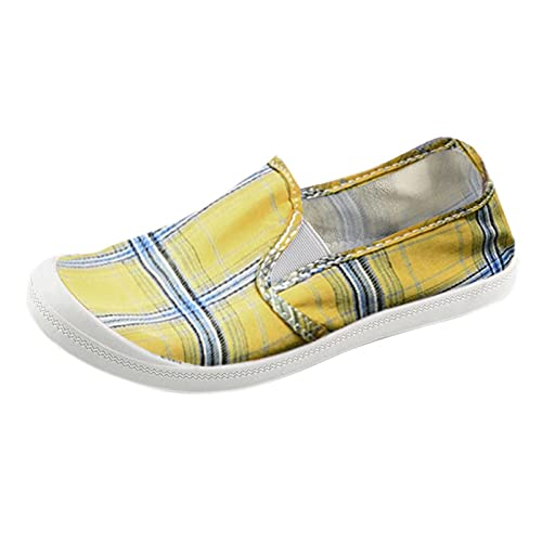 TEELONG Women Shoes Ladies Canvas Shoes Girls School Shoes Plaid Print Slip On Loafers Lightweight Flats Autumn Walking Shoes Low Tops Casual Shoes Sneakers Size 6.5UK Yellow