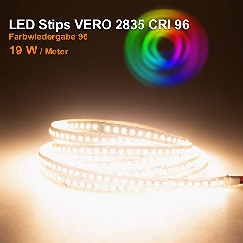LED Streifen VERO Mextronic LED Streifen LED Band LED Strip VERO Warmweiß (3000K) CRI 96 96W 5 Meter 24V IP20