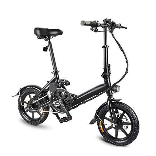 GFF Bicicleta Plegable Bicicleta eléctrica Plegable de 1 Pieza Bicicleta Plegable Frenos de Doble Disco Bicicleta eléctrica de Asistencia eléctrica Delantera y Trasera con Ruedas de 14 Pulgadas