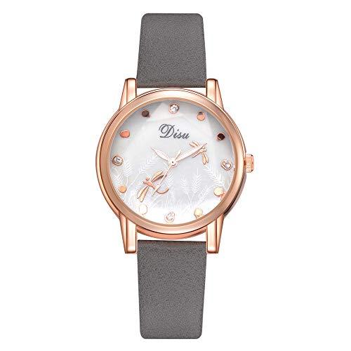 Reloj Estilo Rural Lindo Libélula Espejo Reloj De Cuarzo Reloj De Bolsillo Reloj De Señoras Gris