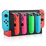 Ladestation für Joy-Con-Controller der Nintendo Switch, 4 in 1 Ladegerät mit LED-Anzeige