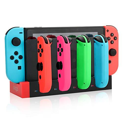 RunSnail Ladestation für Joy-Con-Controller der Nintendo Switch, 4 in 1 Ladegerät mit LED-Anzeige