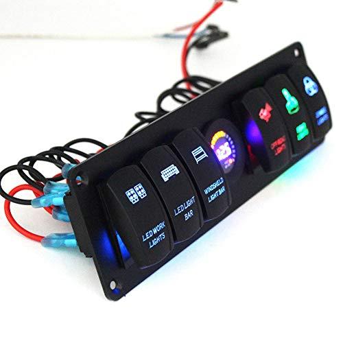 Panel del interruptor de palanca, panel del interruptor basculante del ABS negro 6 cuadrilla para el barco