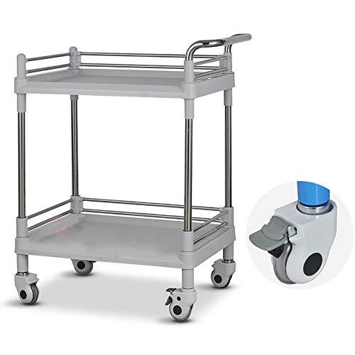 WJ Rollwagen Servierwagen 2-Stufiger Medizinischer Wagen, ABS Salon Beauty Servierwagen für Friseure/Beauty Salon, mit 2 Abschließbaren Rollen (Size : 54×37×90cm)