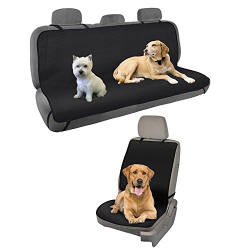 BDK Waterproof Car Seat Covers for Dogs (Front Seat Cover + Rear Bench Back Seat Cover) – Heavy Duty Black Oxford Automotive Seat Covers for Pets, Universal Fit for Car Truck Van and SUV
