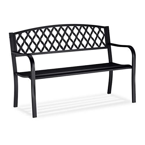 Relaxdays, schwarz Gartenbank, bequemer 2-Sitzer, geflochtenes Design, für Terrasse & Balkon, HBT 86,5 x 127,5 x 58,5 cm