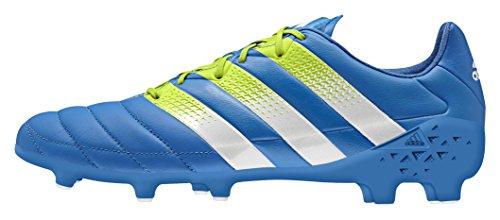 adidas Herren ACE 16.1 FG/AG Leather Fußballschuhe, Blau (Shock Blue/Semi Solar Slime/FTWR White), 47 1/3