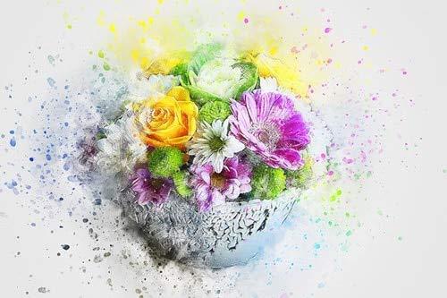 DERFV Acuarela Abstracta Flores Plantas Verdes Lienzo Pintura Cartel Estilo escandinavo Pintura Decorativa