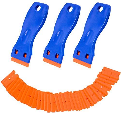 hengguang VenVont Plastic Razor Blade Scraper, 3 Pack Razor Scraper with 30 Pcs Razor Blades for Removing Glue, Sticker, Decals, Tint From Car Window and Glass