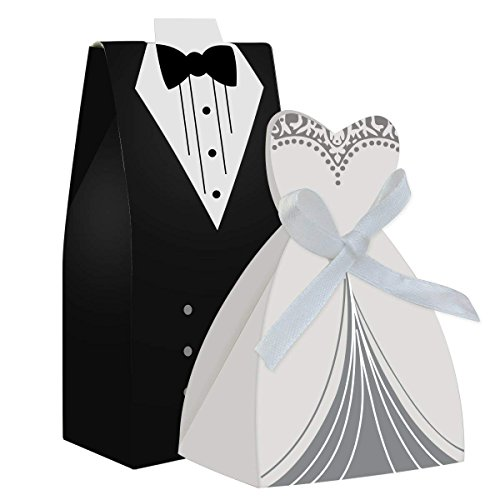cnomg 100pcs Party Wedding Favor Dress & Tuxedo Bride and Wholesale Candy Favor Box,Creative Dress Candy Chocolate Gift Box Bonbonniere for Gift Wedding Party Birthday Bridal Shower Decoration