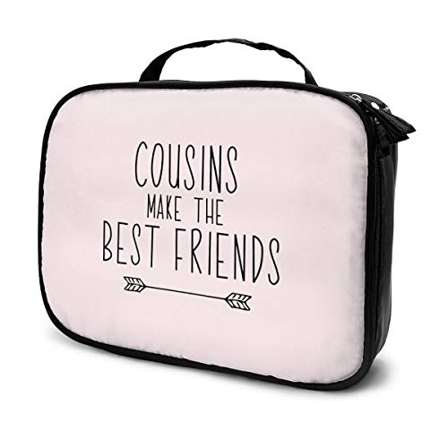 Create Magic Cousins Make The Best Friends Portable Travel Makeup Cosmetic Bags Organizer Multifunction Case Toiletry Bags for Women - Large Capacity and Adjustable Dividers