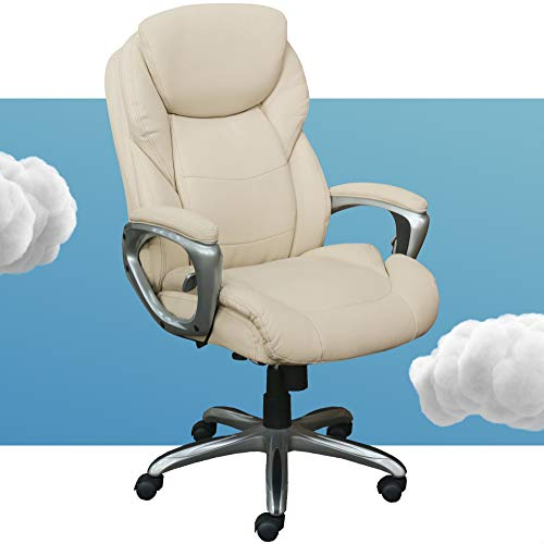 Serta My Fit Executive Office Active Lumbar Support, Adjustable Ergonomic Computer Chair with Layered Cushions, Bonded Leather, IVORY WHITE