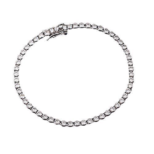 YLMyself Joyería de plata auténtica pavé 2,5 mm zironia cúbica 15-18 cm cadena de tenis eterna boda joyería de lujo blanco