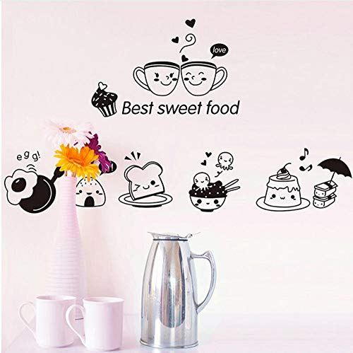 Wsqyf 40 20Cm Black Kitchen Wall Stickers Best Sweets DIY Wall Art Decoration Oven Restaurant Wallpaper PVC Wall Decals