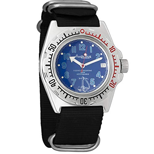 Vostok Militar ruso Diver para hombre de anfibios Amphibia Reloj de pulsera Negro Nailon # 11382