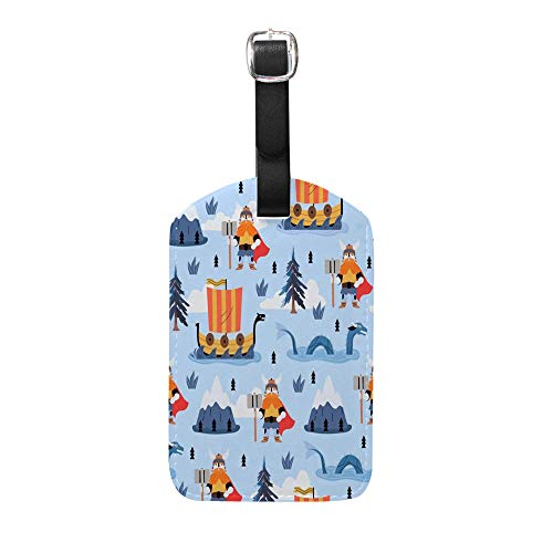 CHEHONG Luggage Tags for Suitcases Cartoon Illustration of Thor god of Thunder Leather Travel Accessories Tags Laggage Bag ID Card 1 PC